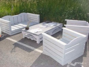 Salon De Jardin En Palette Plan | Pallet Wood Patio Furniture Set ...